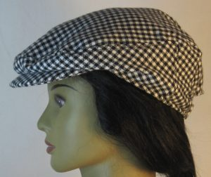 Ivy Flat Cap in Black White Check Flannel - left