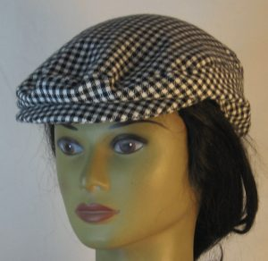 Ivy Flat Cap in Black White Check Flannel - front left