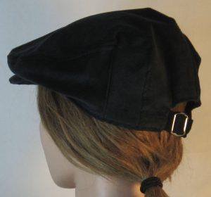 Ivy Flat Cap in Black Corduroy - back