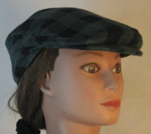 Ivy Flat Cap in Olive Green Black Big Check Flannel - right