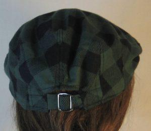 Ivy Flat Cap in Olive Green Black Big Check Flannel - back