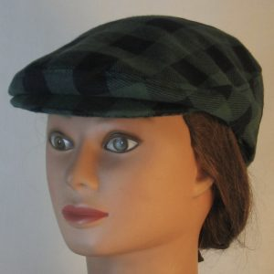Ivy Flat Cap in Olive Green Black Big Check Flannel - front left