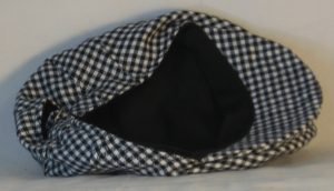 Ivy Flat Cap in Black White Check Flannel - inside