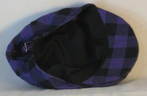 Ivy Flat Cap in Purple Black Big Check Flannel - inside