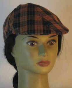 Duckbill Flat Cap in Orange Black Check with Blue Grid Plaid Shirting - front