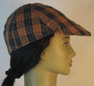 Duckbill Flat Cap in Orange Black Check with Blue Grid Plaid Shirting - right