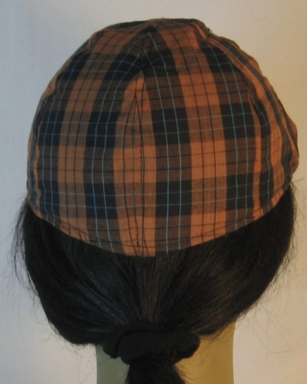Duckbill Flat Cap in Orange Black Check with Blue Grid Plaid Shirting - back