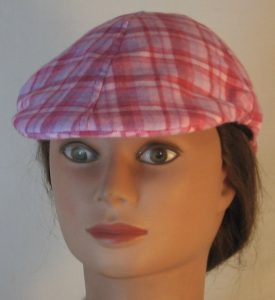 Duckbill Flat Cap in Pink Rose Lavender Plaid Flannel - front
