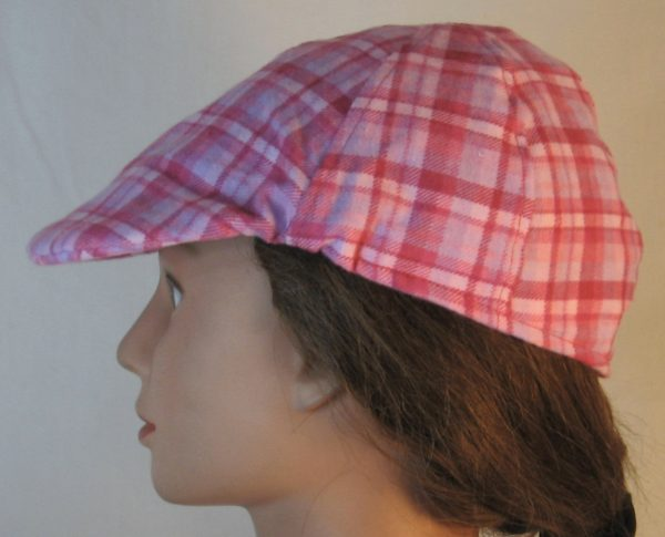 Duckbill Flat Cap in Pink Rose Lavender Plaid Flannel - left