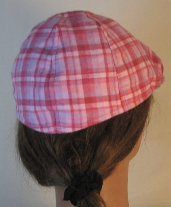 Duckbill Flat Cap in Pink Rose Lavender Plaid Flannel - back