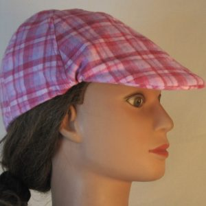 Duckbill Flat Cap in Pink Rose Lavender Plaid Flannel - right