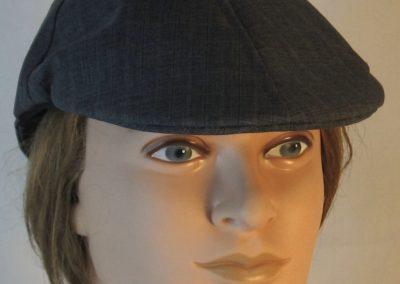 Duckbill Flat Cap in Dark Blue Stripe Suiting - front