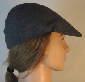 Duckbill Flat Cap in Dark Blue Stripe Suiting - right