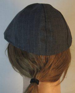 Duckbill Flat Cap in Dark Blue Stripe Suiting - back