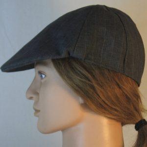 Duckbill Flat Cap in Dark Blue Stripe Suiting - left