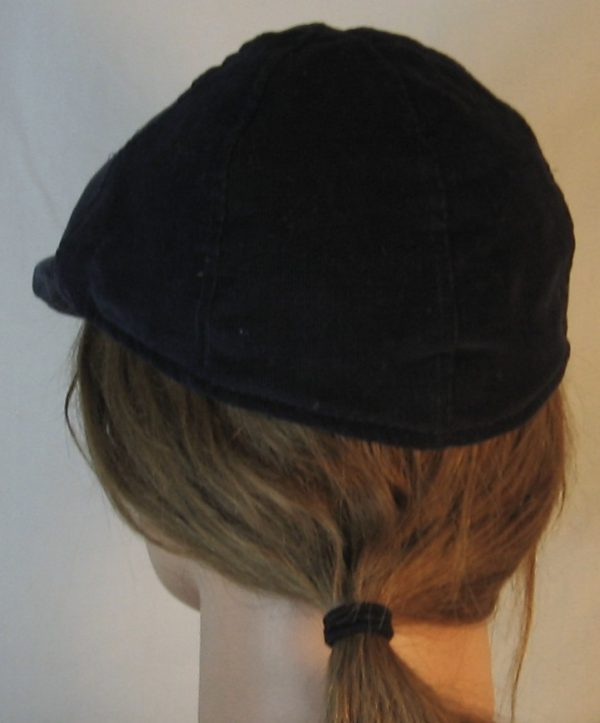 Duckbill Flat Cap in Navy Corduroy - back