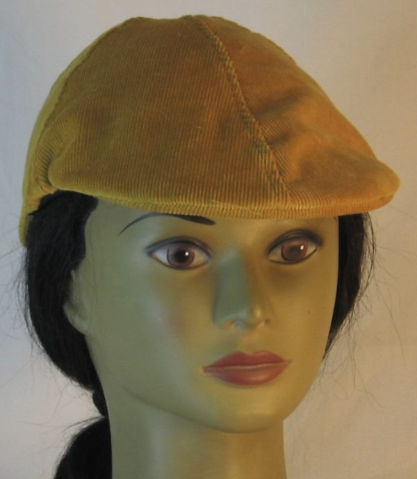 Duckbill Flat Cap in Yellow Mustard Corduroy - front