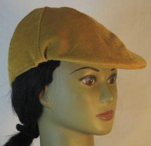 Duckbill Flat Cap in Yellow Mustard Corduroy - right