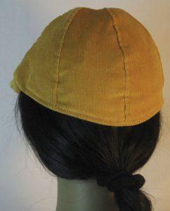 Duckbill Flat Cap in Yellow Mustard Corduroy - back