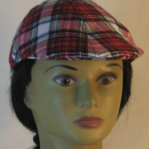 Duckbill Flat Cap in Red White Black Plaid with White Rectangle Flannel - front