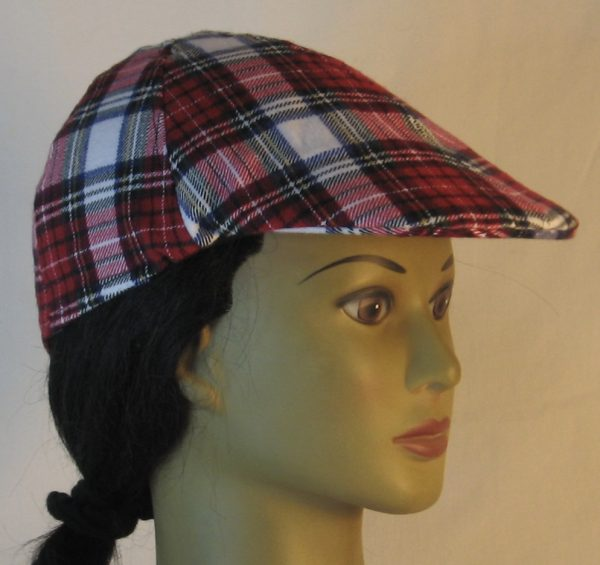 Duckbill Flat Cap in Red White Black Plaid with White Rectangle Flannel - right