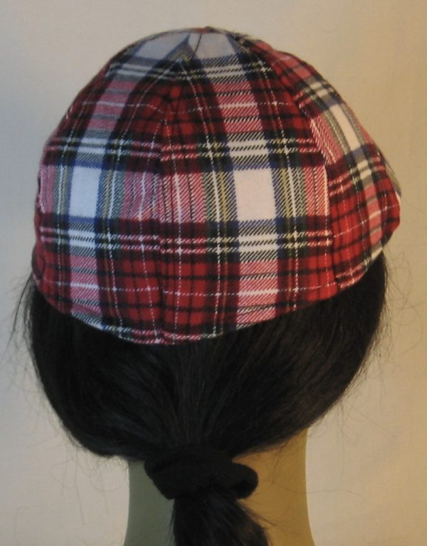 Duckbill Flat Cap in Red White Black Plaid with White Rectangle Flannel - back