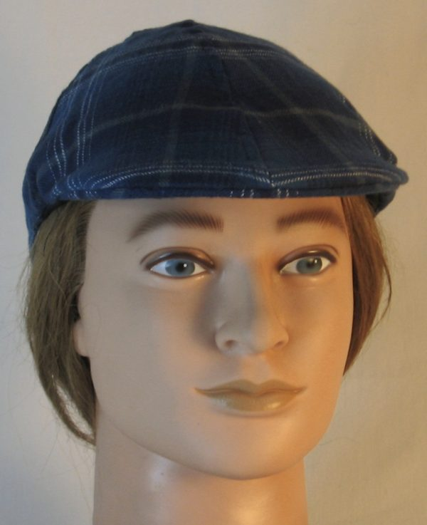 Duckbill Flat Cap in Steel Blue with Navy White Gray Plaid Flannel - front