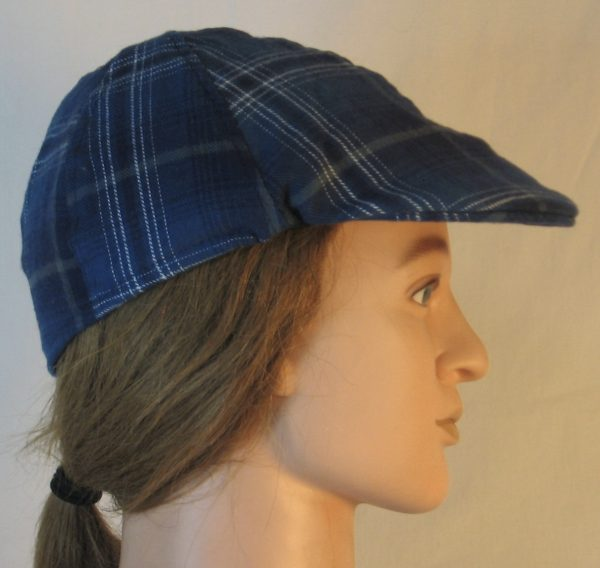 Duckbill Flat Cap in Steel Blue with Navy White Gray Plaid Flannel - right