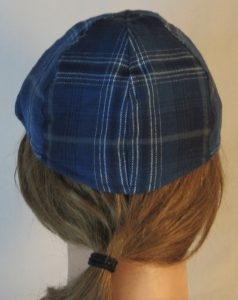 Duckbill Flat Cap in Steel Blue with Navy White Gray Plaid Flannel - back