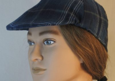Duckbill Flat Cap in Steel Blue with Navy White Gray Plaid Flannel - left