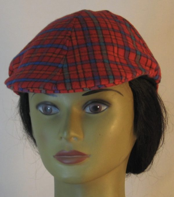 Duckbill Flat Cap in Red Orange Green Blue Check Plaid Flannel - front