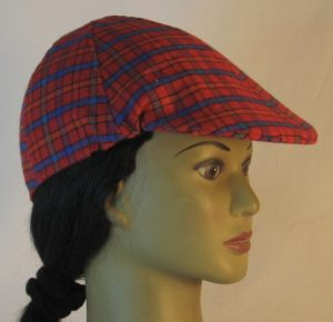 Duckbill Flat Cap in Red Orange Green Blue Check Plaid Flannel - right