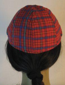 Duckbill Flat Cap in Red Orange Green Blue Check Plaid Flannel - back