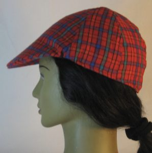 Duckbill Flat Cap in Red Orange Green Blue Check Plaid Flannel - left