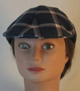 Duckbill Flat Cap in Aegean Blue Grid Plaid with Peach White Navy Flannel - front
