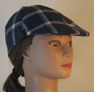 Duckbill Flat Cap in Aegean Blue Grid Plaid with Peach White Navy Flannel - front right