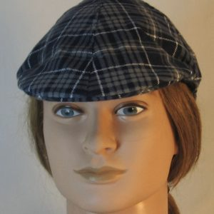 Duckbill Flat Cap in Gray Navy White Plaid Flannel Navy Square White Grid - front