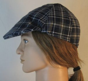 Duckbill Flat Cap in Gray Navy White Plaid Flannel Navy Square White Grid - left