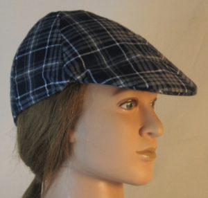 Duckbill Flat Cap in Gray Navy White Plaid Flannel Navy Square White Grid - right