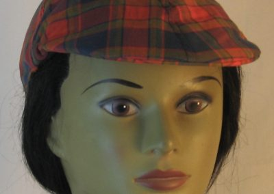 Duckbill Flat Cap in Navy Red Olive Plaid with Navy Square Shirting - front