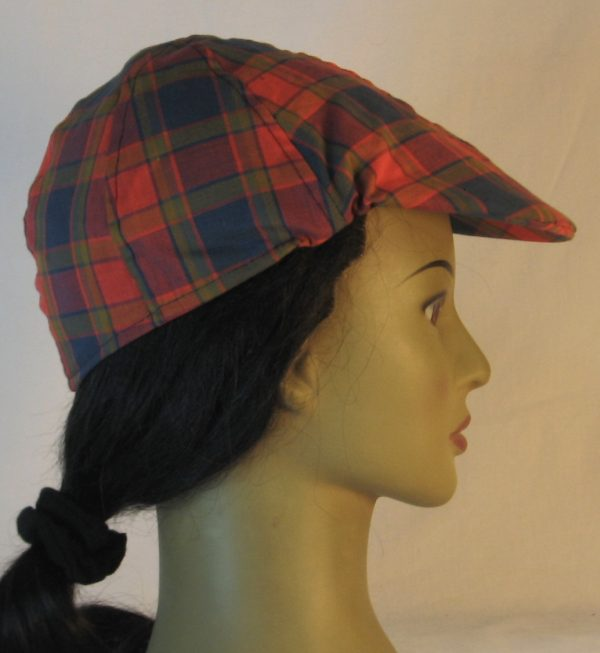 Duckbill Flat Cap in Navy Red Olive Plaid with Navy Square Shirting - right