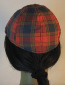 Duckbill Flat Cap in Navy Red Olive Plaid with Navy Square Shirting - back