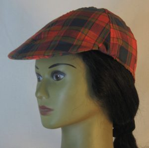 Duckbill Flat Cap in Navy Red Olive Plaid with Navy Square Shirting - left