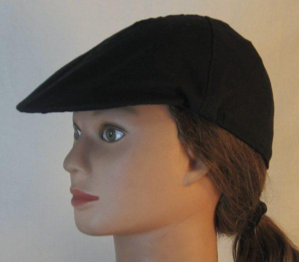 Duckbill Flat Cap in Black - left