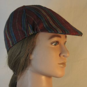 Duckbill Flat Cap in Diamond in Yellow Stripe of Red Blue Green Southwestern Shirting - right
