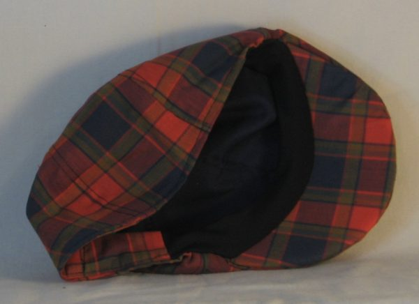 Duckbill Flat Cap in Navy Red Olive Plaid with Navy Square Shirting - inside