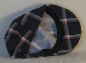 Duckbill Flat Cap in Aegean Blue Grid Plaid with Peach White Navy Flannel - back