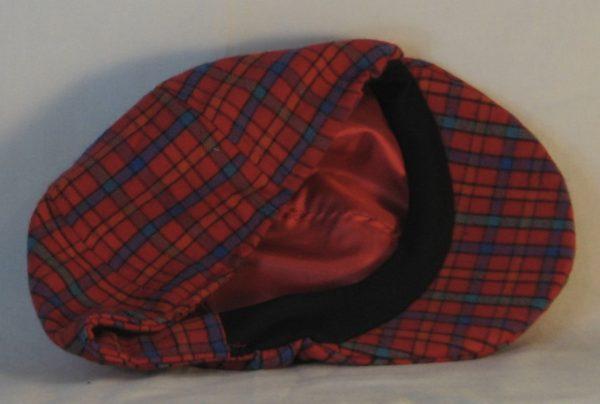 Duckbill Flat Cap in Red Orange Green Blue Check Plaid Flannel - inside