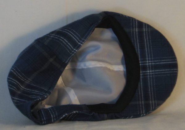 Duckbill Flat Cap in Steel Blue with Navy White Gray Plaid Flannel - inside