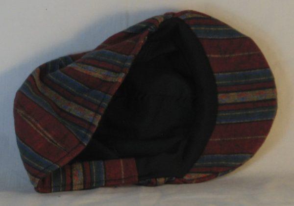 Duckbill Flat Cap in Diamond in Yellow Stripe of Red Blue Green Southwestern Shirting - inside
